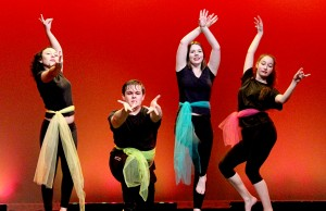 "From left to right, Christine Liggett, Max Oliver, Ashley Mansour, and Jolie Rafealson, juniors, perform a bollywood dance to ""Dola Re Dola."""