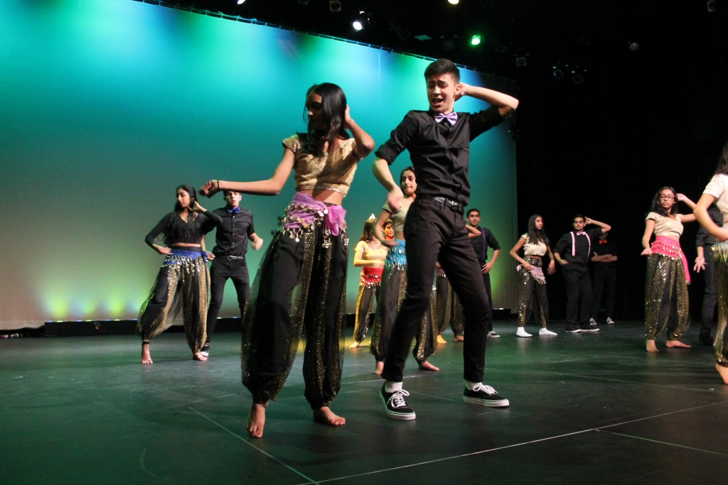 "To close out the show, Sonia Patel, senior, and Jubal Rancourt, junior, perform a dance to ""D Se Dance,"" choreographed by Patel, Rachna Desphande, and Amaan Kazi, seniors."